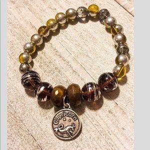 Capricorn Zodiac Beaded Charm Bracelet